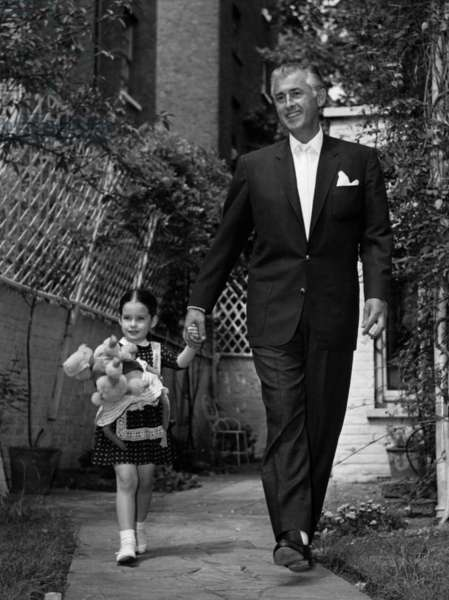 Stewart Granger And His Daughter Tracey In Chelsea August 4, 1960 (b/w photo)