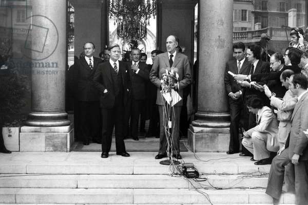 German Chancellor Helmut Schmidt Received at Elysee Palace By French President Valery Giscard D'Estaing June 01, 1974 (b/w photo)