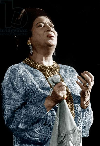Oum Kalsoum (1898-1975) Arab Singer on Stage on November 14, 1967 at The Olympia in Paris (photo)
