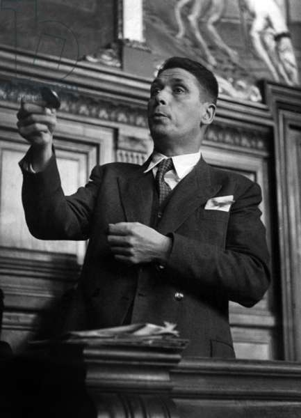 Jean Michel Renaitour at his Trial, Accused of Intelligence With The Enemy, May 5, 1947 (b/w photo)