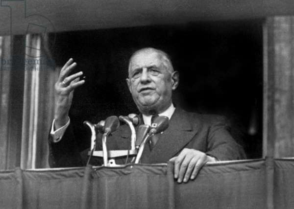 French President Charles De Gaulle in Lyon, France, during Speech, September 29, 1963 (b/w photo)