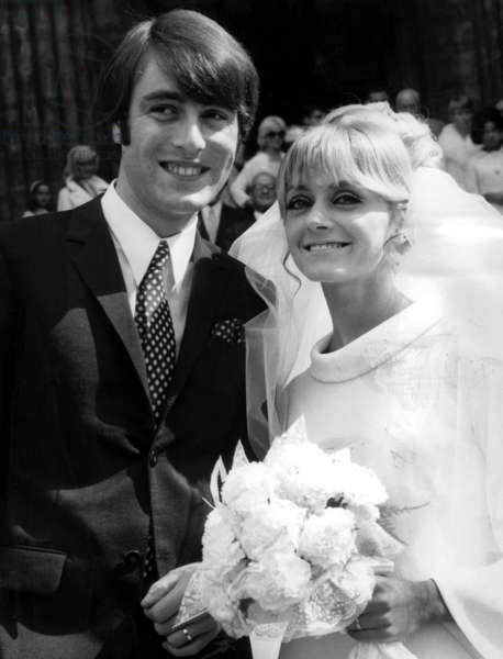 Wedding of Michel Delpech and Chantal Simon in Paris, September 14th 1966 (b/w photo)