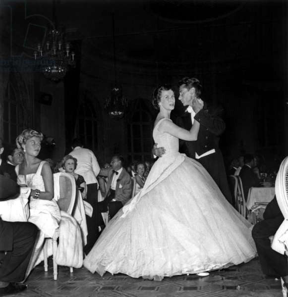 Betsy Blair and Robert Lamoureux Dancing at Charity Ball August 29, 1955 (b/w photo)