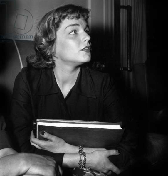 French Actress Simone Signoret on July 1St, 1949 (b/w photo)