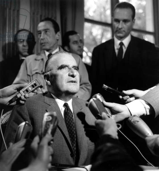 French Prime Minister Georges Pompidou Announcing The Draft Agreements Between Government Trade Unions and Employers May 27, 1968 (In The Background Is Jacques Chirac Estate Secretary of Social Affairs in Charge With Employment Issues) (b/w photo)