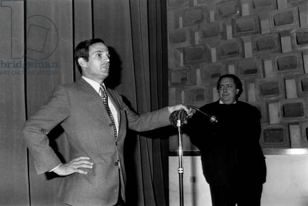 "French Director Francois Truffaut and Director of Cinematheque Francaise Henri Langlois at Premiere of Film ""Stolen Kisses"" in Paris September 5, 1968 (b/w photo)"