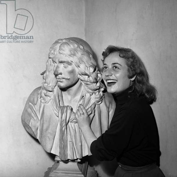 Annie Girardot Is Engaged at Comedie Francaise, here Near Statue of Moliere July 16, 1954 (b/w photo)