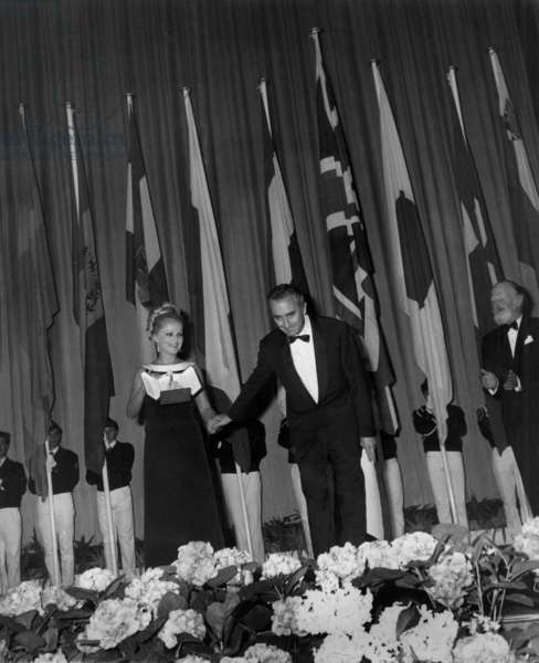 """Italian Director Michelangelo Antonioni (1912 - 2007) Receiving The Palme D'Or at Cannes Festival For """"Blow Up"""" 1967 (b/w photo)"""