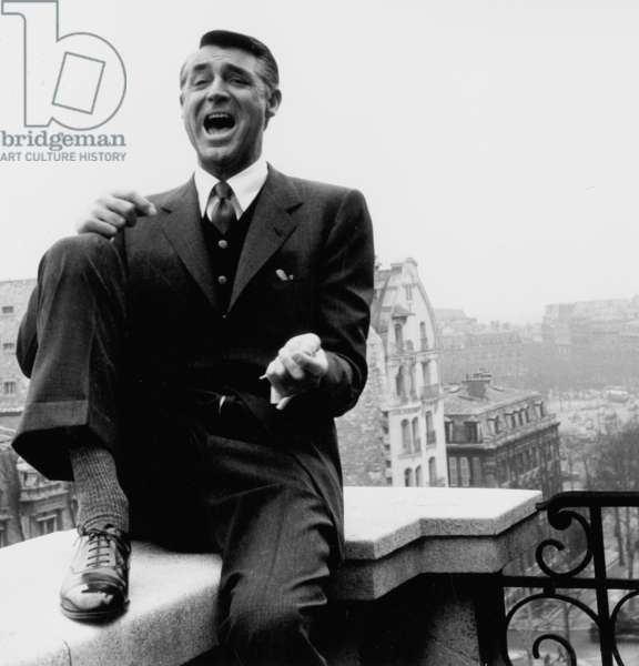 Cary Grant in Paris (Hotel Raphael) on March 29, 1956 (b/w photo)