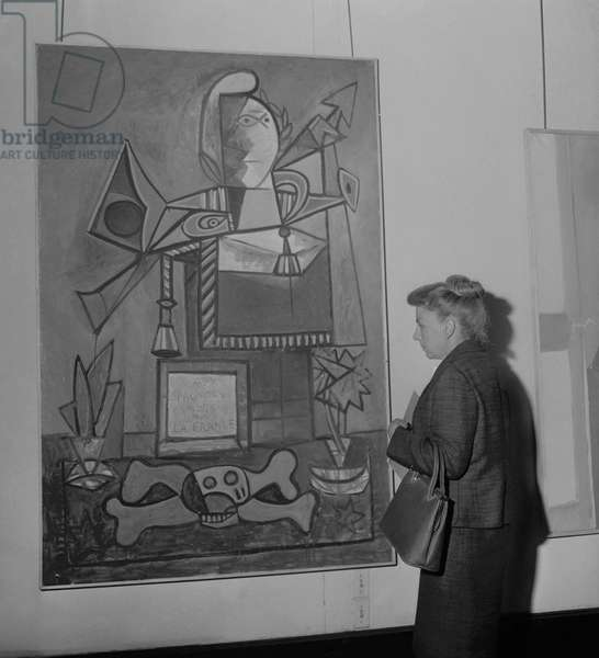 Exhibit of Pablo Picasso's painting 'Monument to the Spaniards Who Died for France' in Maison de la Pensee Francaise in Paris, on April 26, 1961