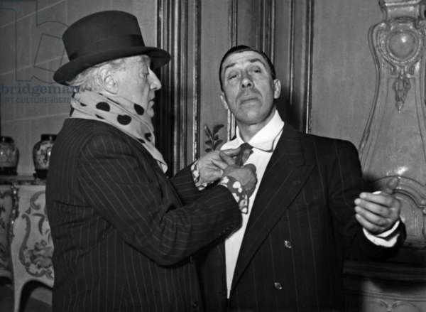 Tu M'As Sauve La Vie By and With Sacha Guitry With Sacha Guitry and Fernandel on Rehearsal at The Theatre Des Varietes, December 12, 1949 (b/w photo)