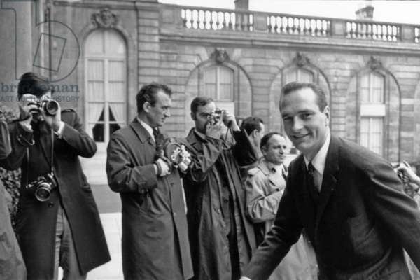 Council of Ministers at Matignon Hotel in Paris on May 27, 1968 : Jacques Chirac (b/w photo)