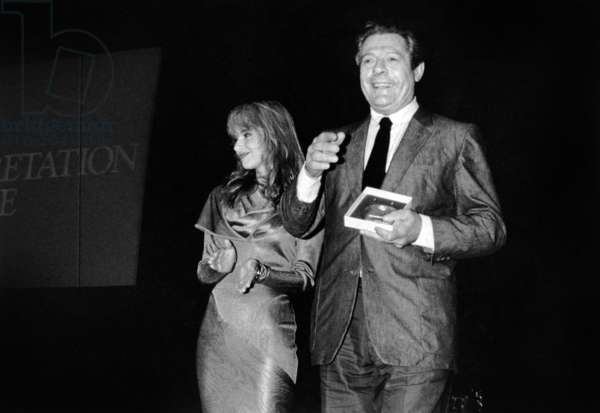 """Marcello Mastroianni Receiving Best Actor Award at Cannes Festival (For Film """"Dark Eyes"""") May 21, 1987 (b/w photo)"""