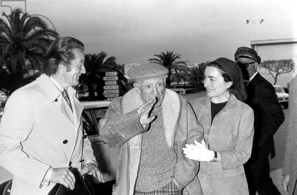 Roland Dumas Pablo Picasso With his Wife Jacqueline at Nice Cote D'Azur Airport, France, April 29, 1971 (b/w photo)