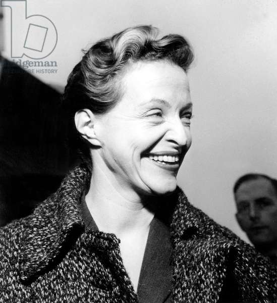 French Pilot Jacqueline Auriol during Breguet Ceremony at Air France December 15, 1953 (b/w photo)