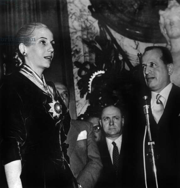Argentinian President Juan Peron and his Wife Eva Peron With Ambassador Geki Djabi and Minister of Information Raoul Capold, April 1952 (b/w photo)
