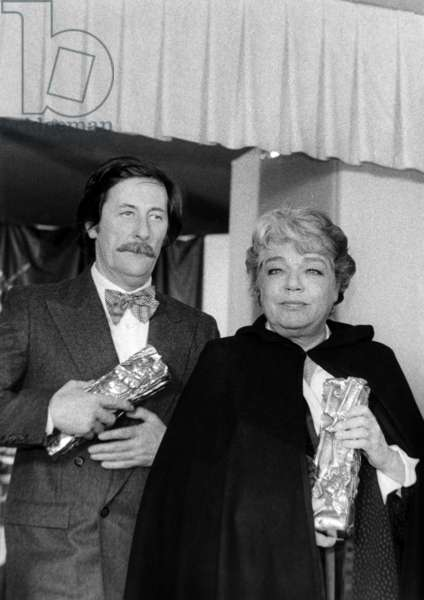 Actors Jean Rochefort and Simone Signoret Received Their Cesar (French Movie Prize) February 6, 1978 (b/w photo)