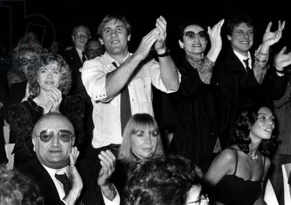 Elizabeth Depardieu, her Husband Gerard Depardieu and the French Singer Barbara Applaud After Henrisalvador'S Concert, in Paris, in November 9Th, 1982 (b/w photo)