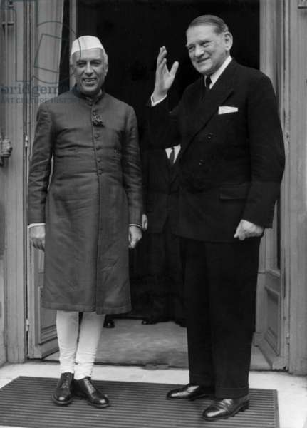 The President Pandit Nehru (Indian Prime Minister) Received By The French President Rene Coty at The Elysee Palace in Paris, July 17, 1956 (b/w photo)
