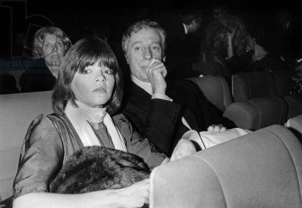 """Catherine Allegret (Simonesignore'S Daughter) and her Step-Father Yves Montand during """"Porgy and Bess"""" Gala in Paris January 20, 1978 (b/w photo)"""