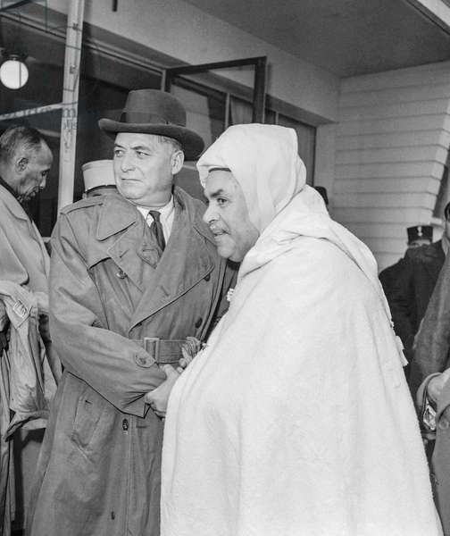 French General Alphonse Juin in Paris, back from Indochina, October 27, 1950, here welcome by Mohammed Ben Hassan Guessous (b/w photo)