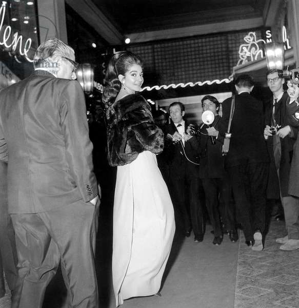 Aristotle Onassis and Maria Callas at Premiere of Lido Cabaret Revue December 21, 1966 (b/w photo)