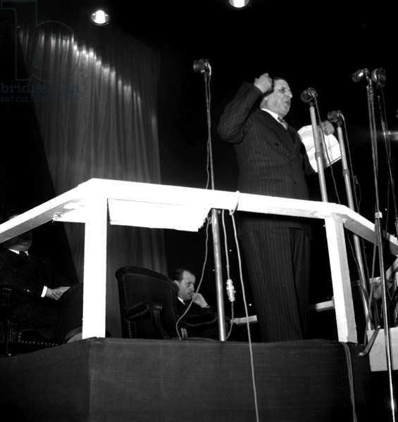 General Charles De Gaulle Making A Speech in Paris on February 11, 1950. Background : Andre Malraux (b/w photo)