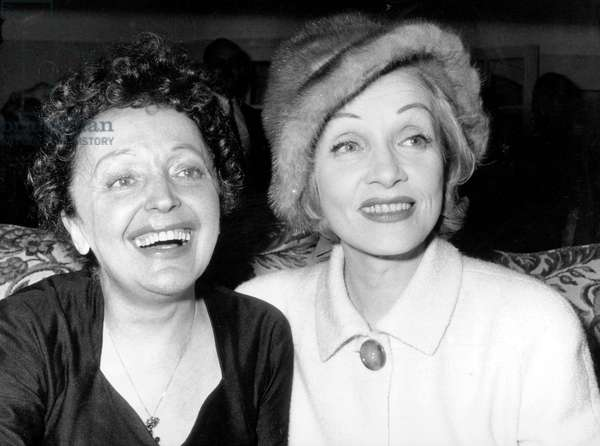 Edith Piaf Leaving Concert in Melun on November 21, 1959 Congratulated By Actress Marlene Dietrich Just Arrived From United States (b/w photo)