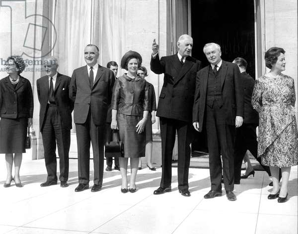English Prime Minister Harold Wilson and Wife With English Foreign Secretary and Wife during Visit To French President Charles De Gaulle and Wife in Elysee Palace Paris April 2, 1965 (b/w photo)