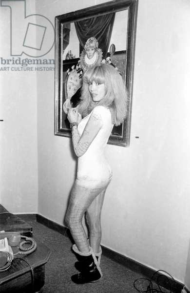Private View of The Exhibition of Paintings By Amanda Lear January 13, 1982 (b/w photo)