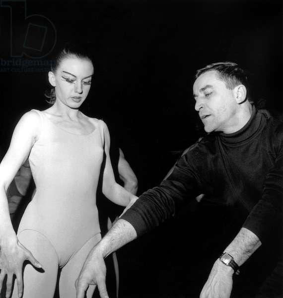 "Maurice Bejart and Jacqueline Rayet during Rehearsals of Ballet ""Le Sacre Du Printemps"" at Paris Opera April 22, 1965 (b/w photo)"