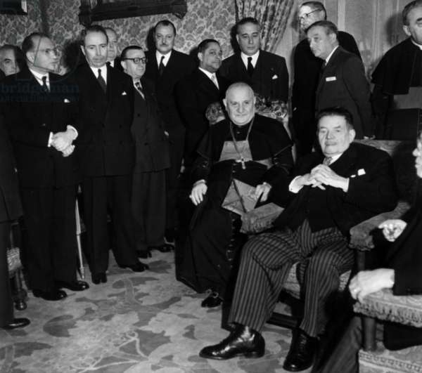 Your Grace (Papal Nuncio) With Edouard Herriot and Albert Sarrault Near Him, and at Middle Distance L-R Edgar Faure, Antoine Pinay, Felix Gouin, Jean-Pierre Fourcade, Gaston Monnerville, Rene Mayer, Rene Pleven Et Georges Bidault, February 8, 1953 (b/w photo)