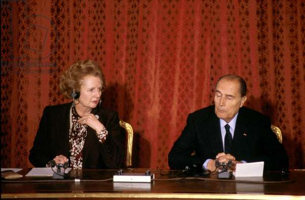 English Prime Minister Margaret Thatcher and French President Francois Mitterrand during Press Conference at Elysee Palace November 21, 1986 at The Time of The Decision To Built The Channel Tunnel (photo)