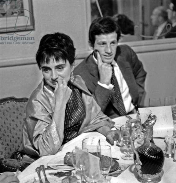 Agnes Varda and Jean Paul Belmondo on July 6, 1961 (b/w photo)