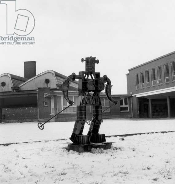 Metallic Robot Built By Les Eleves A Learning Center in Lille on January 12, 1968 (b/w photo)