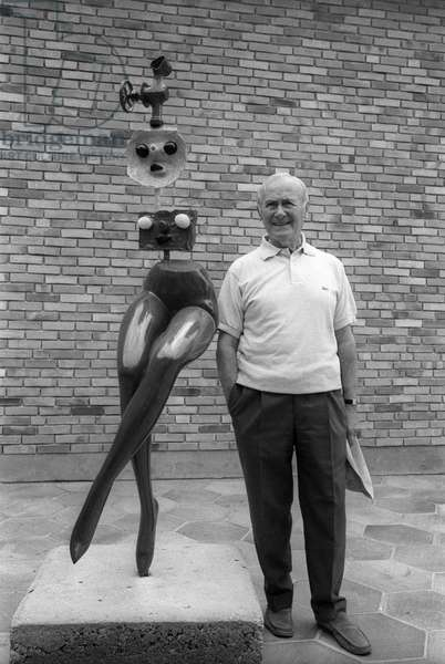 Joan Miro (1893-1983) with his 'modern woman' sculpture at the Maeght Foundation in Saint Paul de Vence where an exhibition of his work was organised for his 75th birthday, July 24, 1968