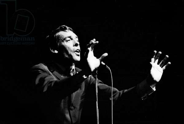 Jacques Brel on Stage at The Olympia October 7, 1966 (b/w photo)