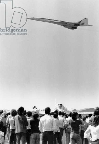 "Supersonic Plane ""Concorde 001"" during Le Bourget Air Fair June 07, 1975 (b/w photo)"