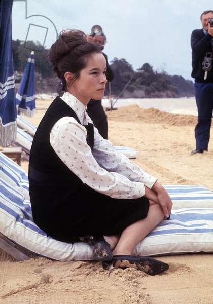 Geraldine Chaplin Posing on The Beach C. 1965 (photo)