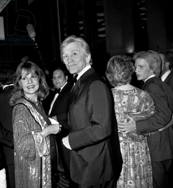 Jeanne Moreau and Kirk Douglas (President of Jury) at Cannes Film Festival May 23, 1980 (b/w photo)