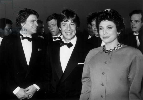 Bernard Tapie, Patrick Sabatier and Anne Sinclair during A Party Given By Tf1 (This French Television Channel Becoming Private) in Port-Marly (France) on April 16, 1987 (b/w photo)