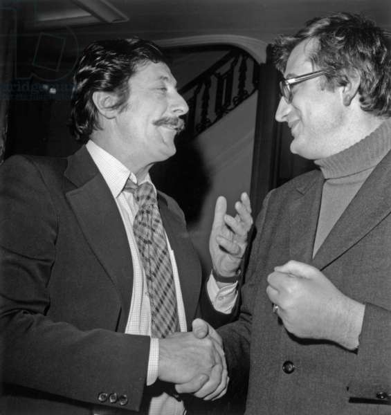 "Director Bertrand Tavernier Has Received A Prize For his Film ""L'Horloger De Saint Paul"" With Jean Rochefort January 12, 1974 (b/w photo)"