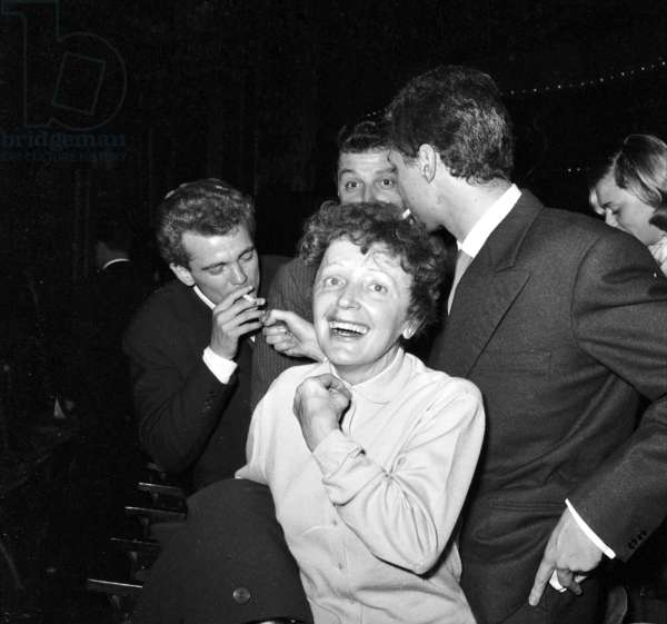 Edith Piaf at the Alhambra, Paris, for CharlesAznavour's show, October 9, 1958 (b/w photo)