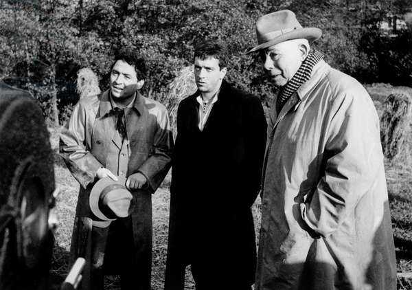 Director Jean Renoir With Actors Jean-Pierre Cassel and Claude Brasseur on Set of Film December 1961 (b/w photo)