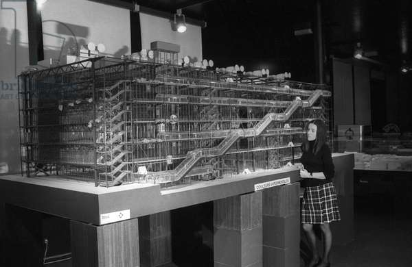 Scale model of Georges Pompidou Centre in Beaubourg (Paris) nuilt in 1976-1977