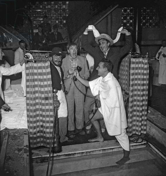 "The Pieds Nickeles (Ribouldingue/Maurice Baquet, Filochard/Jean Paredes et Croquignol/Rellys) at the hammam in Paris on October 25, 1949 on set of film ""Tresor des Pieds Nickeles"" (b/w photo)"