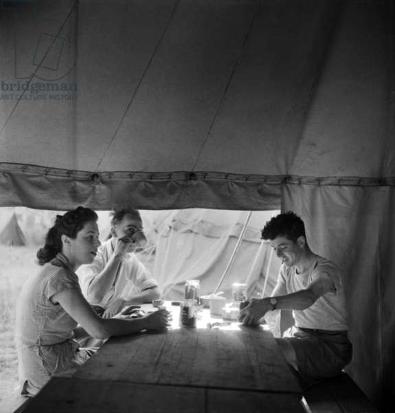 Camping in France, July 1947 : Young People in A Tent (b/w photo)
