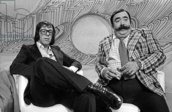 "Patrick Topaloff and Moustache (Francois-Alexandre Galepides) during TV Programme ""Le Defi"" September 9, 1975 (b/w photo)"