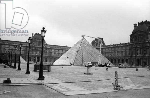 Louvre Pyramid in Paris The Day Before Launching, October 13, 1988 (b/w photo)