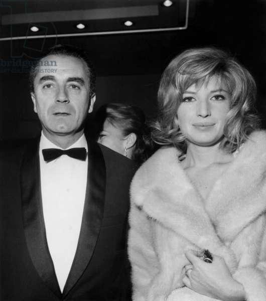 Monica Vitti and Michelangelo Antonioni (1912 - 2007) at Premiere of Film The Red Desert October 28Th 1964 (b/w photo)